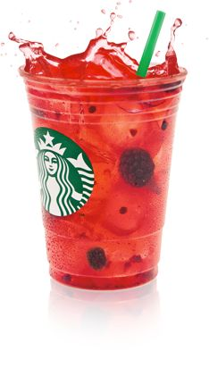 Starbucks Refreshers Verry Berry-Add Absolut Mango and a splash of Sprite