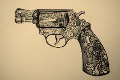 If I ever had a pistol tattoo! M Tattoos, Pin Up Tattoos, Picture Tattoos, Tattoo Drawings, Tattoos For Guys, Girl Tattoos, Revolver Tattoo, Pistol Tattoos, Pistol Drawing
