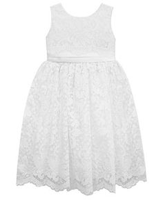 Jayne Copeland Little Girls' Lace Flower Girl Dress - Kids Girls Dresses - Macy's  could we put a blue sash on it?  That would be super classy.