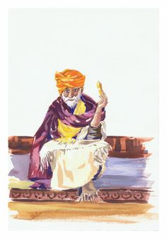 Hombre indio comiendo fruta / Indian man eating fruit.Gouache by Isabel Mariasg on waterford 300 grs paper.
