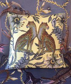Lovebird Leopards - butter silk cushion