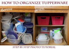 How to Organize Your Tupperware Cupboard for a Couple Bucks easy Steps!) - These 5 easy steps have kept my tupperware cupboard organized, even when my husband does the dishes - Organiser Tupperware, Tupperware Storage, Tupperware Organizing, Organisation Hacks, Pantry Organization, Dollar Store Bins, Lampe Retro, Ideas Para Organizar, Organizing Your Home