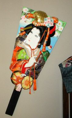 VINTAGE JAPANESE ASIAN WOOD PADDLE HAGOITA GEISHA SILK FABRICS KIMONO DOLLS ART