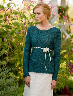 Ravelry: Becoming Jane Sweater pattern by Melissa Horozewski  From the book Austentatious Crochet. We have two copies on display, just ask to see them.