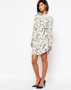 Image 4 of Vila Graphic Print Shirt Dress