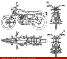 1971 Honda CB500 Four - technical drawing (plan)