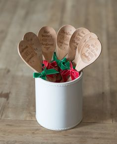 Laser Etched Wooden Spoon With Silicone Grip And Hand Tied Ribbon. Various  Sentiments Makes These A Great Kitchen Gift For Any Occasion.