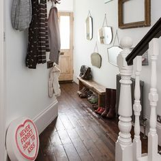 White hallway with dark wood floor | Hallway decorating | housetohome.co.uk