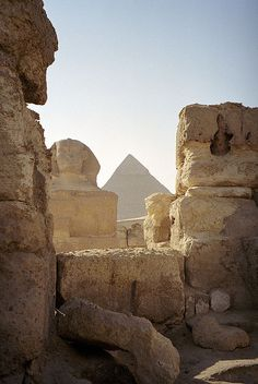 Egypt - Giza by Jeff Werner.  View of the #sphinx and great #pyramid                Egypt - Giza - 19-29