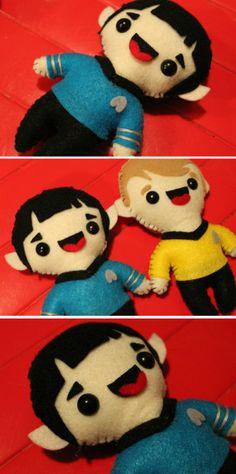 Plush Spock and Kirk = BFF's! | Star Trek https://www.etsy.com/ca/listing/169291908/made-to-order-spock-star-trek-plush?ref=af_shop_favitem