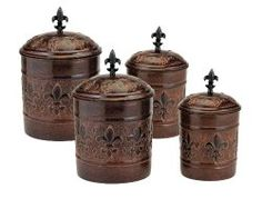 Great canisters to add a french-country personality to your kitchen..