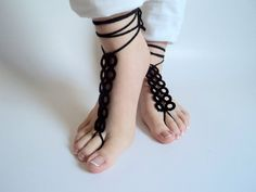 Barefoot sandles Black  Barefoot sandals Wedding by beyazdukkan, $13.00