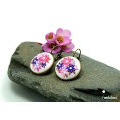 Brincos primavera, flores rosa e lilás