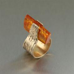 Contemporary Handmade Bronze Ring with Amber by San Francisco jewelry designer John S Brana