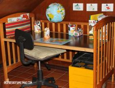 After toddler out grows toddler bed which crib converts to, then turn it into desk