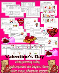 Great addition to your Valentine's Day themed stations / workshop. It can be used as Morning Work or part of the Literacy/ Math centers. Students work on: improving vocabulary, reading fluency, use their schemata when describing Valentine's Day related pictures, patterning, improving reading and writing skills, comparing and contrasting, using 5 Senses and other graphic organizers. Differentiated approach based on your students' skill level. #Valentine #reading #writing #patterns #math