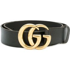 f2cc150d1ad Black calf leather  Double G  belt from Gucci featuring a gold-tone logo  plaque and an adjustable fit.