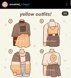 Anime Outfits, Girl Outfits, Yellow Outfits, Kleidung Design, Drawing Anime Clothes, Clothing Sketches, Cute Art Styles, Fashion Design Drawings, Mode Vintage