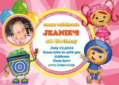 Team Umizoomi Birthday Party Invitation You by JJspiffyparty