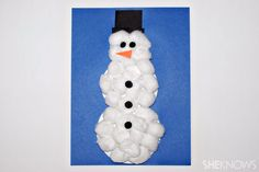 Cotton ball snowman - now that's fun and easy for little hands to make!