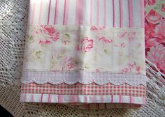 Decorative Shabby Chic tea towels. Divine decorative tea towel for a shabby chic kitchen. Wonderful pretty towel for that pink and white kitchen. All my decorative towels are sold in my Ebay Store. See profile page for link.