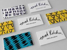 Enat Kitchen - branding by Lizzie Thompson, via Behance Small Business Web Design, Business Card Design, Business Cards, Pop Design, Graphic Design, Business Envelopes, Identity Design, Visual Identity, Brand Identity