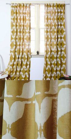 "Named for the Hindi word for ""mustache,"" these curtains are covered in them, combined to form a geometric pattern. Hand block printed, each curtain is colored using natural dyes on lightweight cotton fabric, the gauzy panel letting in just the right amount of light."