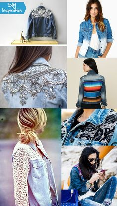 Love some of these denim reworks. show-me-pretty-diy-denim-jacket-inspiration. Jean Diy, Diy Vetement, Diy Mode, Denim Ideas, Refashioning, Old Jeans, Recycled Denim, Diy Clothing, Mode Inspiration