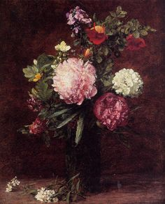 This Henri Fantin-Latour Flowers Large Bouquet with Three Peonies painting is…