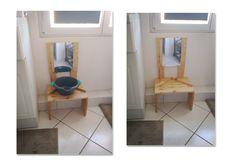 Petit point toilette d'inspiration Montessori. La cuvette n'est pas encastrée dans le meuble afin que notre fils puisse la vider lui-même après usage dans la baignoire juste à côté. L'ensemble est à cheval au dessus d'une évacuation d'eau, donc fixé au mur sinon impossible à faire tenir seul. Le miroir est en plexiglass.