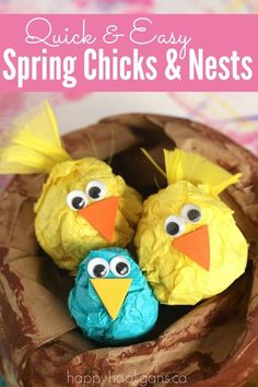 Cute Spring Craft Paper Chicks in Paper Nests is part of Kids Crafts Spring Happy Hooligans - Bird crafts are a great way to welcome spring! Kids love this one because they get to crumple paper, and you'll love it because it's pretty much mess free! Spring Crafts For Kids, Bunny Crafts, Easter Crafts For Kids, Toddler Crafts, Toddler Play, Easter Activities, Craft Activities, Toddler Activities, Spring Activities