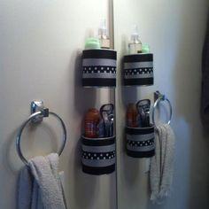 Formula cans as bathroom storage!