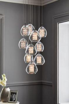 Buy Bella 10 Light 10 Light Pendant Cluster from the Next UK online shop Flush Lighting, Pendant Lighting, Pendant Light Fitting, Light Pendant, Hand Piercing, Cluster Lights, Light Fittings, Fabric Shades, Light Shades