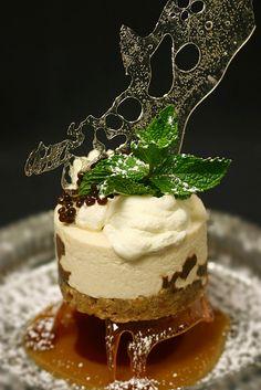 Caramelized Pecan topped with White Mousse,Fresh Whip Cream and Expresso Caviar. Gourmet Desserts, Fancy Desserts, Just Desserts, Delicious Desserts, Dessert Recipes, Yummy Food, Plated Desserts, Decoration Patisserie, Bon Dessert