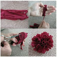 T-shirt yarn flower pompons T Shirt Flowers, Yarn Flowers, Flower Shirt, Diy Flowers, Flower Diy, Flower Fabric, Dahlia Flowers, Fabric Flower Tutorial, Bow Tutorial
