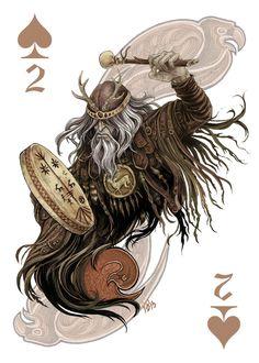 Hun Shaman by zsofiadome on DeviantArt Cool Playing Cards, Joker Playing Card, Custom Playing Cards, Card Tattoo Designs, Realistic Cartoons, Fantasy Rpg, Art Design, Deck Of Cards, Fabric Painting