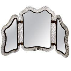 Self standing triple mirror by Ercole Barovier