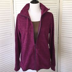 """Old Navy performance fleece activewear jacket Super light, but super warm. Old Navy """"performance fleece"""" activewear jacket. Marled maroon color. Stand-up collar, long sleeves, side pockets. Zip front. Sold out in this color and in this size. NWT; never worn. Old Navy Jackets & Coats"""