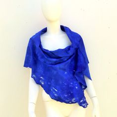 Merino Wool Lacey Electric Blue Evening Wrap by juliaheartfelt