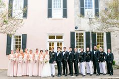 Light Pink Bridesmaid Dresses, Groomsmen in Military Uniforms and Black Tuxes | Blush + Gold Creek Club Charleston Wedding by Charleston wedding photographer Dana Cubbage Weddings