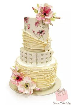 Exquisite Cake With Painted Flowers