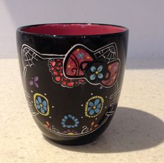 Etched Hello Kitty sugar skull mug by SkullMamacreations on Etsy https://www.etsy.com/listing/226805787/etched-hello-kitty-sugar-skull-mug