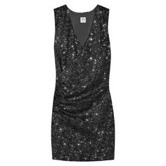 """Halston Heritage Sequin Dress Only worn twice! The perfect dress to add some sparkle to your night in this Halston Heritage V-Neck ruched mini dress. Pair with your tallest heels to complete the look.   Black sequins. Cap sleeves. V -neckline. Ruched body. 33"""" from shoulder to hem. Halston Heritage Dresses Prom"""