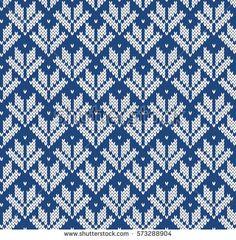 Jacquard Fairisle Wool Seamless Knitting Pattern Fair Isle Knitting Patterns, Knitting Charts, Crochet Blanket Patterns, Knitting Stitches, Knitting Designs, Hand Knitting, Cross Stitch Patterns, Tejido Fair Isle, Mittens Pattern