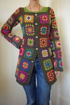Transcendent Crochet a Solid Granny Square Ideas. Wonderful Crochet a Solid Granny Square Ideas That You Would Love. Pull Crochet, Gilet Crochet, Crochet Coat, Crochet Cardigan, Love Crochet, Beautiful Crochet, Crochet Clothes, Crochet Sweaters, Crochet Gifts