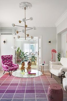 Sunset inspired Ombre rug by Kelly Wearstler in Patricia Bustos's home in Madrid as seen on AD Spain Room Interior, Interior Design Living Room, Modern Interior, Interior Decorating, Decorating Ideas, Colorful Decor, Colorful Interiors, Do It Yourself Videos, Bold Wallpaper
