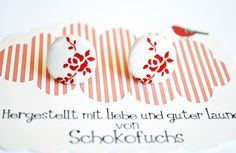 Fabric textile earrings from Schokofuchs on DaWanda. With nice red Vintage flowers.