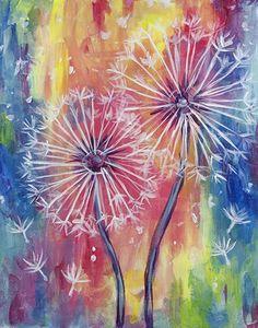 Rainbow background Dandelion painting. Paint Nite. Beginner painting idea.