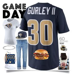 """Game Day! LA Rams"" by easy-dressing ❤ liked on Polyvore featuring Etiquette, NIKE, New Era, Dooney & Bourke, Vans and Riddell"