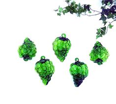 Vintage Green Art Glass Grapes Ornaments Grape by OceansideCastle, $48.99